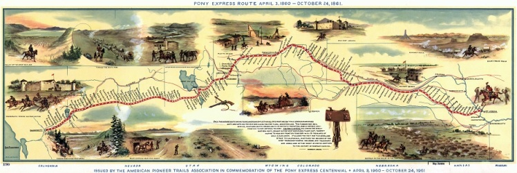 Thank you to: Big Map Blog for the use of the photo of the Pony Express Route